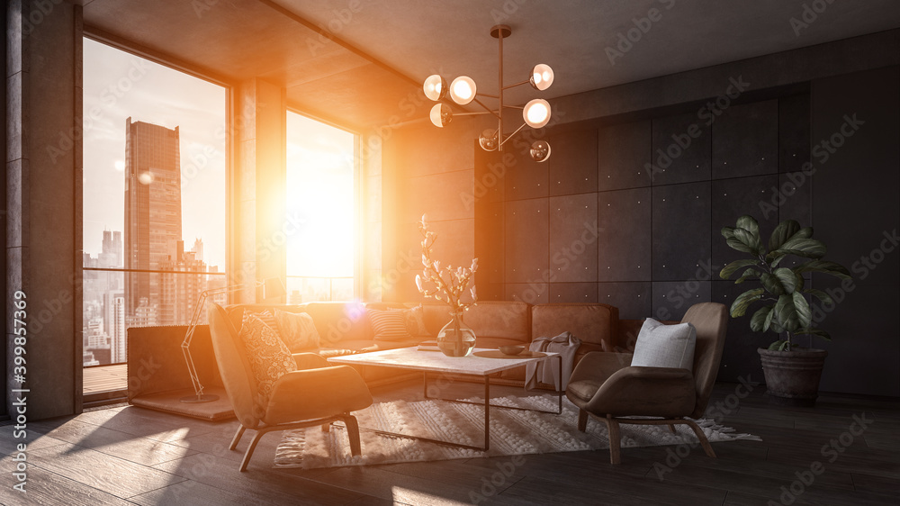 Fototapeta Modern interior of a living room. Penthouse Loft with dark stone walls (3d Rendering)