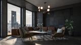 Fototapeta Do pokoju - Modern interior of a living room. Penthouse Loft with dark stone walls (3d Rendering)