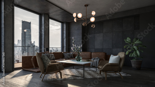 Modern interior of a living room. Penthouse Loft with dark stone walls (3d Rendering) #399857361