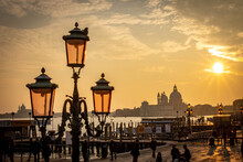 Santa Maria Della Salute At Sunset