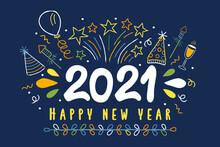 Happy New Year 2021 Party Celebration Doodle Card