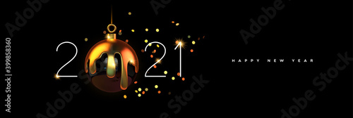 Obraz Happy New year 2021 gold 3d bauble decoration - fototapety do salonu