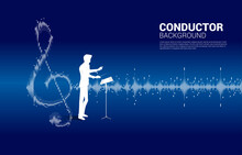 Vector Conductor With Music And Sound Technology Concept .equalizer Wave As Music Note