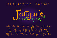 Set Of Hand Drawn Script Alphabet With Number And Common Symbols On Dark Lavender Colored Background. Suitable For Wedding Invitations, Christmas Cards, Book Titles With Fairy Tale Or Fantasy Themes