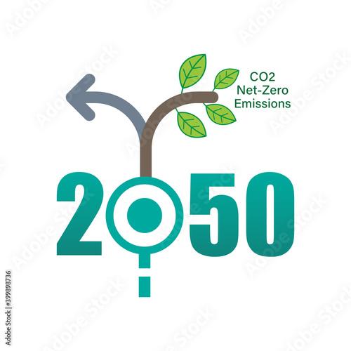Foto Achieving CO2 net-zero emissions by 2050 typographic design