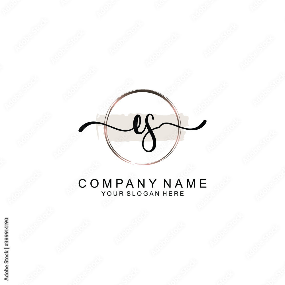 Fototapeta Initial ES Handwriting, Wedding Monogram Logo Design, Modern Minimalistic and Floral templates for Invitation cards