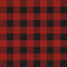 Lumberjack Plaid Seamless Pattern. Vector Textile Template. Dark Red Color.