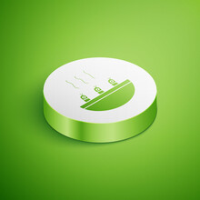 Isometric Soup With Shrimps Icon Isolated On Green Background. Tom Yum Kung Soup. White Circle Button. Vector..