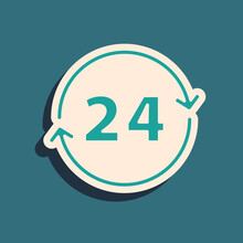 Green Clock 24 Hours Icon Isolated On Green Background. All Day Cyclic Icon. 24 Hours Service Symbol. Long Shadow Style. Vector.