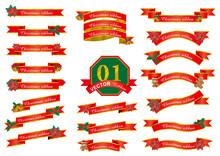 クリスマスのイメージのグラフィック素材イラストセットバナー_リボン飾り罫ポインセチア柊ベル_Christmas Ribbon Ornament