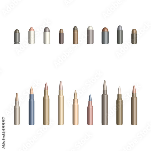 Canvas-taulu Set of weapon cartridges with a bullet, vector illustration.