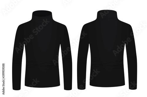 Fotografia Black turtle neck long sleeve t shirt. vector illustration