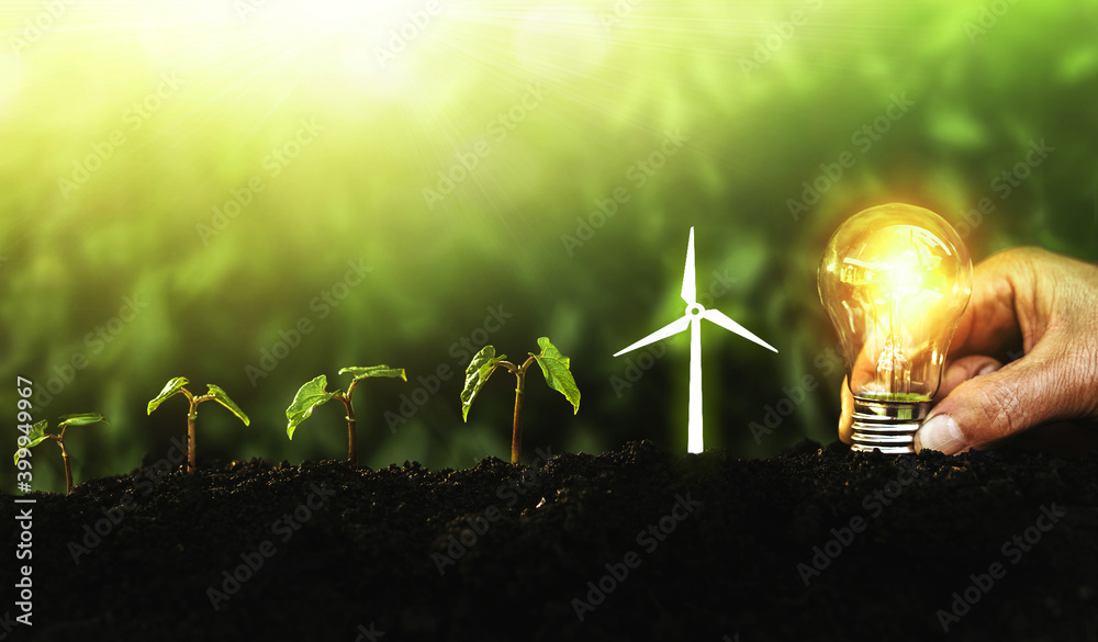 Fototapeta Hand holding lightbulb and plants with icon wind turbine on soil increase. Concept saving energy in nature, growth and succes. Ecology and Environment conservation concept
