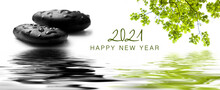 Zen Banner Happy New Year Card 2021 - Raindrops On Black Pebbles In Border Water Reflection