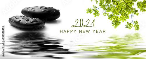 Obraz zen banner happy new year card 2021 - raindrops on black pebbles in border water reflection - fototapety do salonu