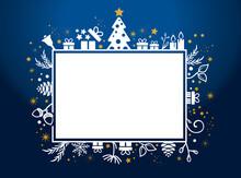 Geschenk Gutschein - Geschenkanhänger Weihnachten - Dekorative Weihnachtliche Grafik Auf Blauem Hintergrund - Christmas Gift Voucher