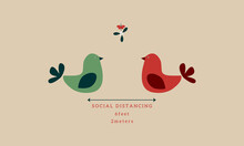 Social Distancing Christmas With Turtle Doves Under Mistletoe