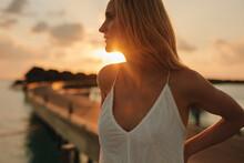 Portrait Of A Tourist Woman At A Beach Resort