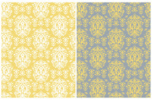 Simple Ornamental Seamless Vector Patterns Set. White And Yellow Abstract Floral Ornament Isolated On A Illuminating Yellow And Gray Background. Decorative Print Ideal For Fabric, Textile.