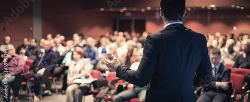 Canvas Print Speaker at Business Conference with Public Presentations