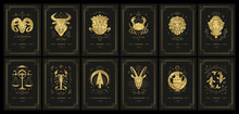 Zodiac Astrology Horoscope Cards Linocut Silhouettes Design Vector Illustrations Set