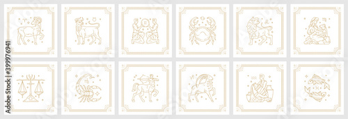 Fototapeta Zodiac astrology horoscope signs linear design vector illustrations set