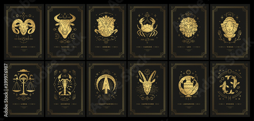 Photographie Zodiac astrology horoscope cards linocut silhouettes design vector illustrations