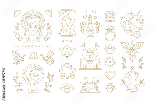 Fotografie, Obraz Esoteric and mystic linear symbols set vector illustrations.