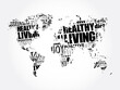 Healthy Living word cloud in shape of world map, health concept background