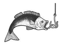Fish Catch Bait Worm On Hook Fishing Sketch Engraving Vector Illustration. T-shirt Apparel Print Design. Scratch Board Imitation. Black And White Hand Drawn Image.
