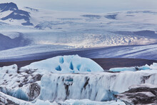 A Retreating Glacier, Pouring Down From The Vatnajokull Icecap, In Skaftafell National Park, Southern Iceland