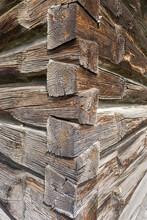 Corner Of Log Cabin In British Columbia, Canada