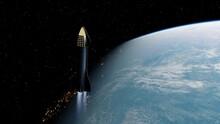 SpaceX Concept Spacecraft In Orbit Of The Earth. SpaceX Elon Musk Mars Programm 3d Render