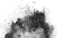 Particles Of Charcoal On White Background, Abstract Powder Splatted On White Background, Freeze Motion Of Black Powder Exploding Or Throwing Black Powder.