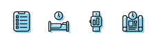 Set Line Smartwatch, To Do List Or Planning, Time To Sleep And Project Time Icon. Vector.