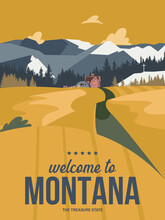 Montana State On A Vector Poster In Retro Style. American Travel Illustration