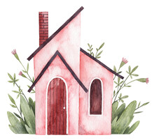 Watercolor Hand Painted Pink House With Florals On The Background