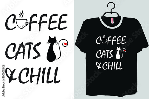 Fotografie, Obraz This is coffee cats chill shirt design templet you can also use it for redesign