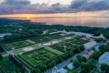Panoramic Aerial View Of The Park In Peterhof. Evening Sunset