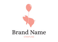 Pink Flying Pig Tied To Balloon. Vector Logo Design With Text