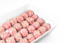 Raw Meat Balls Isolated On White