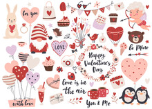 Valentine's Day Element Set: Gnome, Love Text, Heart Shape, Cute Cupid,  Flowers, Air Balloons And Calligraphy Quotes.  Perfect For Scrapbooking, Greeting Card, Party Invitation, Gift Tags.