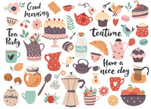 Teatime Element Set: Cups, Teapots, Sweets And Kitchen Utensils. Perfect For Scrapbooking, Greeting Card, Party Invitation, Poster, Tag, Sticker Kit. Hand Drawn Vector Illustration.