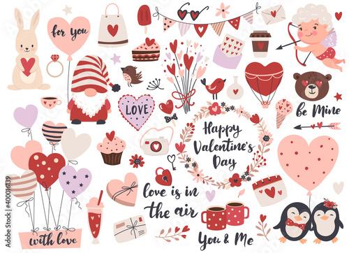 Fototapeta Valentine's Day element set: gnome, love text, heart shape, cute cupid,  flowers, air balloons and calligraphy quotes.  Perfect for scrapbooking, greeting card, party invitation, gift tags. obraz