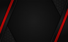Abstract Dark Hexagon Background With Red Line