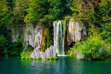 Fototapeta na wymiar Summer landscape in Plitvice National Park, Croatia, Europe
