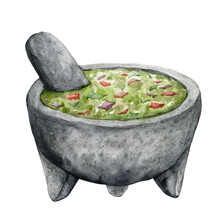 Watercolor Kitchen Composition Of Guacamole In Ceramic Bowl. Hand Painted Illustration Isolated On White Background. Food Card For Design, Print, Fabric Or Background.