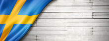 Swedish Flag On Old White Wall Banner