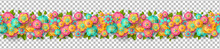 Spring Seamless Border With Paper Cut Flowers And Leaves Isolated On Transparent Background. Bright Colorful Geometric Forms. Vector Illustration. Fresh Design For Posters, Brochures Or Vouchers.