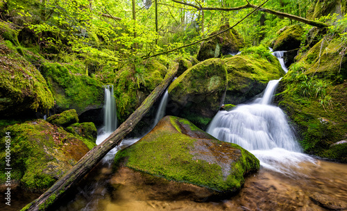 Beautiful shot of a waterfall in mossy rocks in the forest